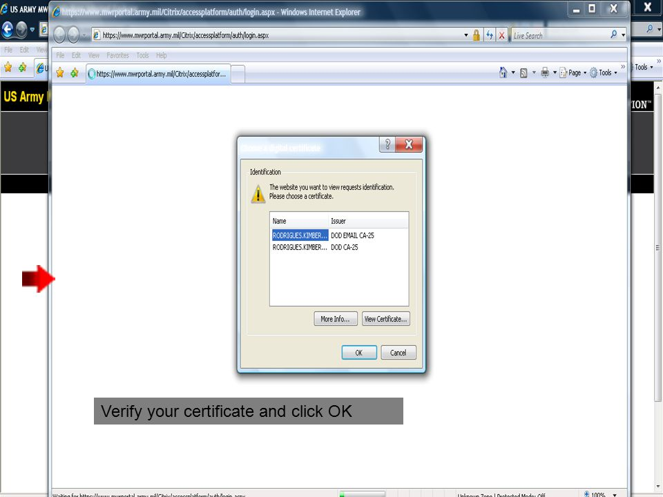 Verify your certificate and click OK