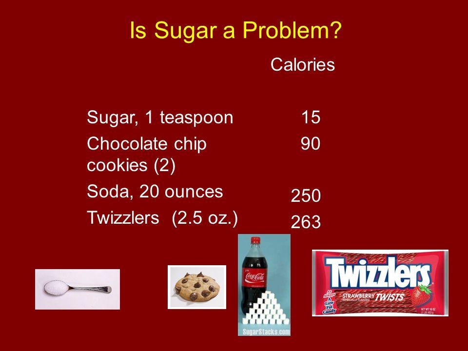 Is Sugar a Problem? Sugar, 1 teaspoon Chocolate chip cookies (2) Soda, 20 ounces Twizzlers (2.5 oz.) Calories 15 90 250 263