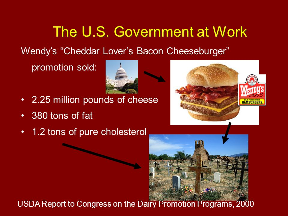 """Wendy's """"Cheddar Lover's Bacon Cheeseburger"""" promotion sold: 2.25 million pounds of cheese 380 tons of fat 1.2 tons of pure cholesterol USDA Report to"""