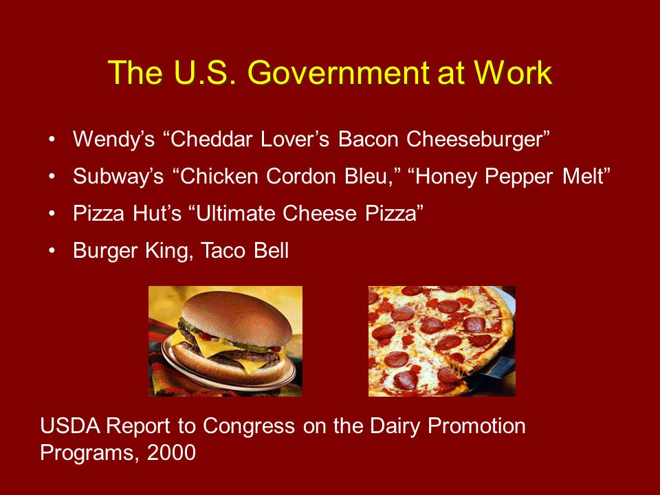 "Wendy's ""Cheddar Lover's Bacon Cheeseburger"" Subway's ""Chicken Cordon Bleu,"" ""Honey Pepper Melt"" Pizza Hut's ""Ultimate Cheese Pizza"" Burger King, Taco"