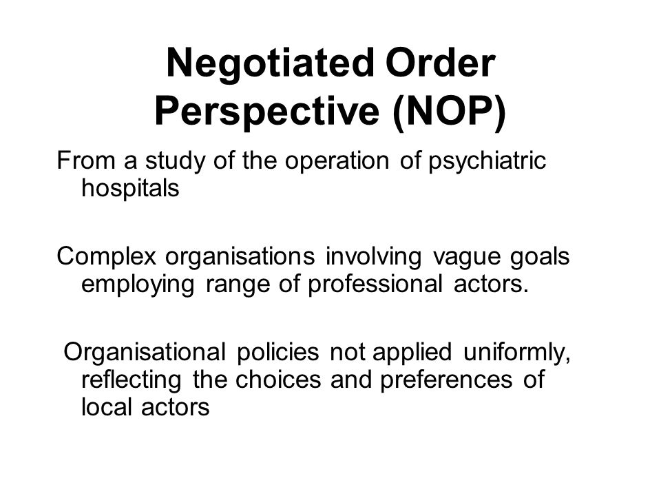 Negotiation(s) negotiation with '… the process of give-and-take, of diplomacy, of bargaining — which characterises organizational life' (Strauss et al 1965 148).