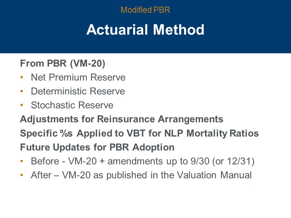 Actuarial Method From PBR (VM-20) Net Premium Reserve Deterministic Reserve Stochastic Reserve Adjustments for Reinsurance Arrangements Specific %s Applied to VBT for NLP Mortality Ratios Future Updates for PBR Adoption Before - VM-20 + amendments up to 9/30 (or 12/31) After – VM-20 as published in the Valuation Manual Modified PBR