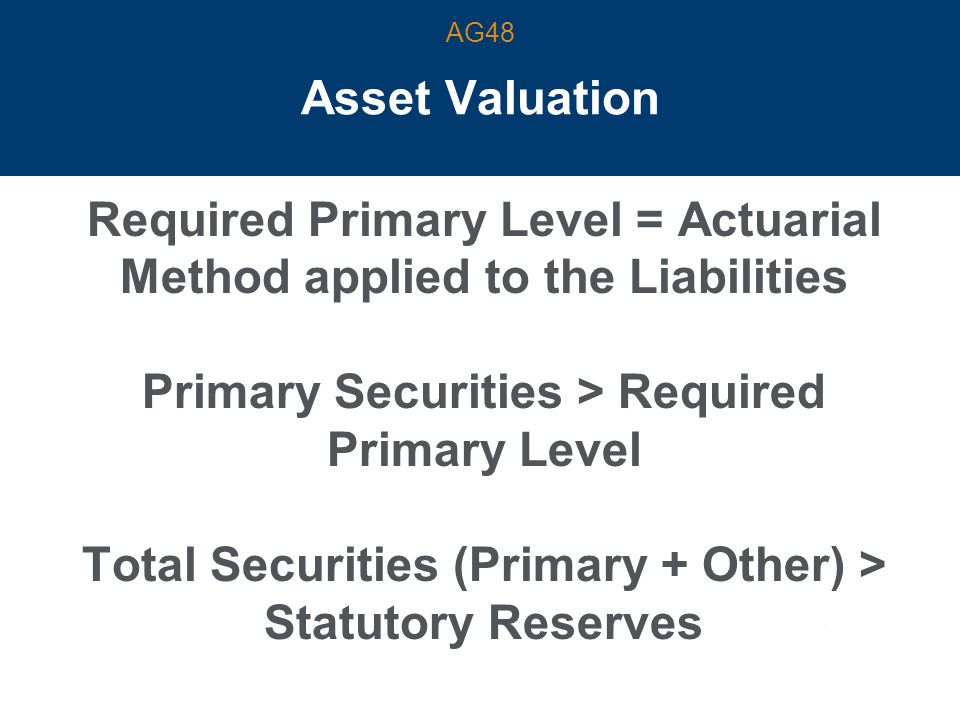 Asset Valuation Required Primary Level = Actuarial Method applied to the Liabilities Primary Securities > Required Primary Level Total Securities (Primary + Other) > Statutory Reserves AG48