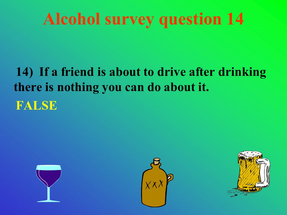 14) If a friend is about to drive after drinking there is nothing you can do about it. FALSE Alcohol survey question 14