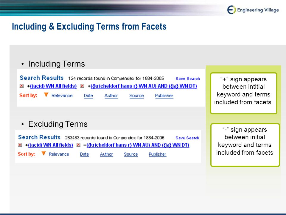 Including & Excluding Terms from Facets Including Terms Excluding Terms + sign appears between intitial keyword and terms included from facets - sign appears between initial keyword and terms included from facets