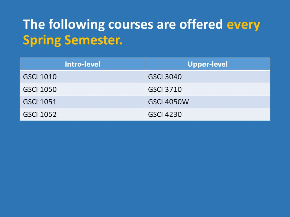 The following courses are offered every Spring Semester.