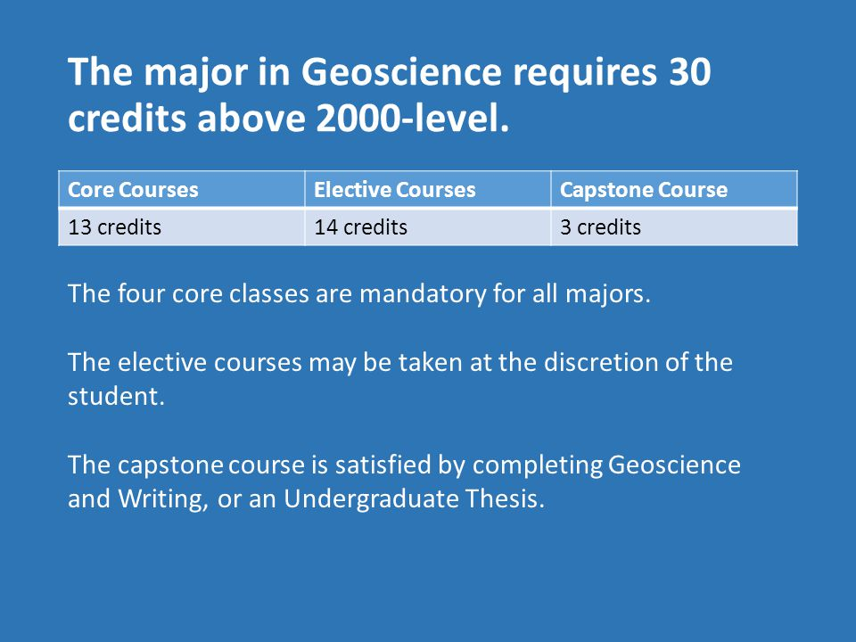 The major in Geoscience requires 30 credits above 2000-level.
