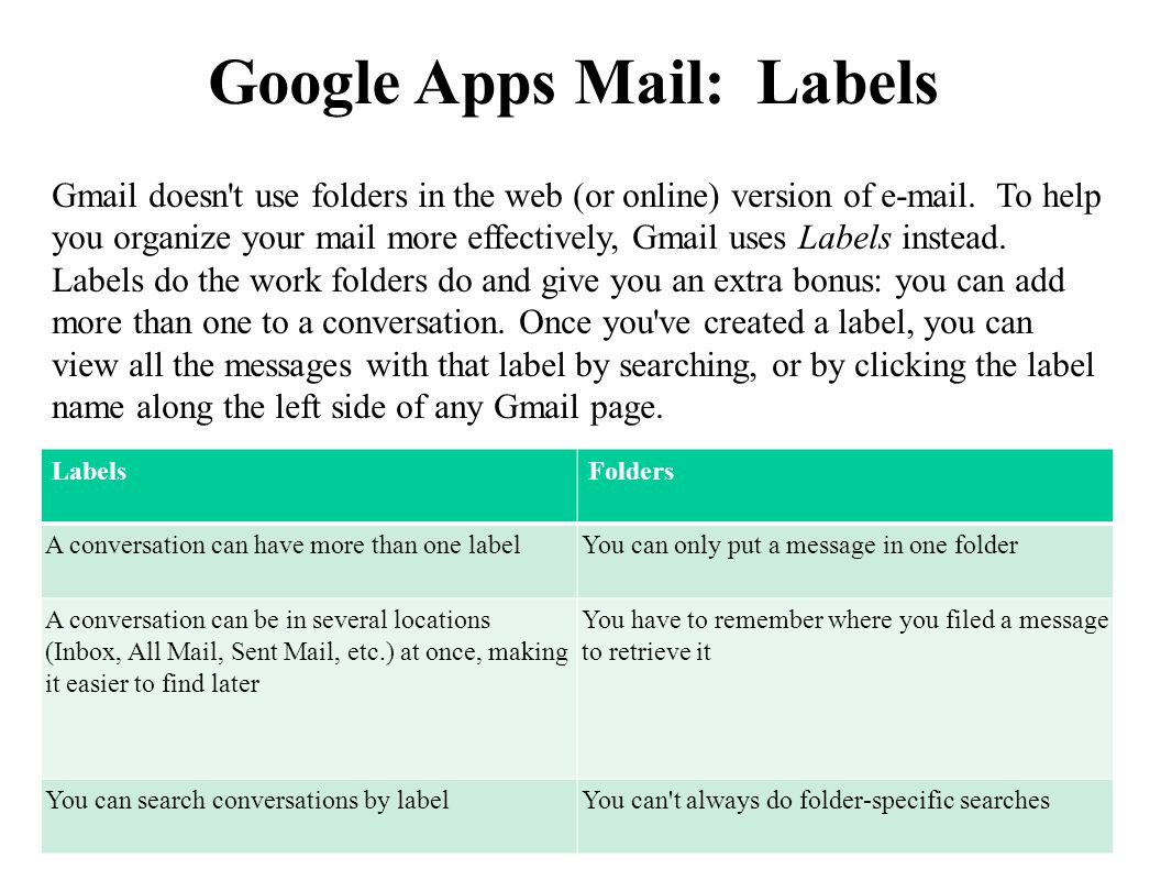 Google Apps Mail: Labels LabelsFolders A conversation can have more than one labelYou can only put a message in one folder A conversation can be in several locations (Inbox, All Mail, Sent Mail, etc.) at once, making it easier to find later You have to remember where you filed a message to retrieve it You can search conversations by labelYou can t always do folder-specific searches Gmail doesn t use folders in the web (or online) version of  .