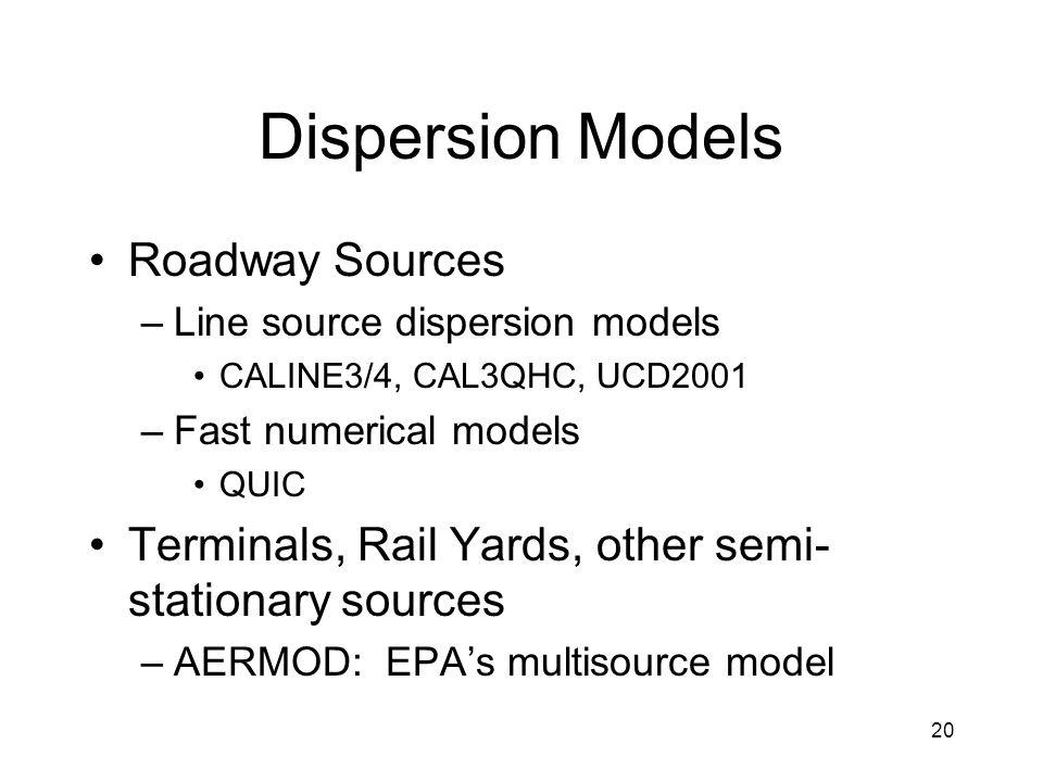 20 Dispersion Models Roadway Sources –Line source dispersion models CALINE3/4, CAL3QHC, UCD2001 –Fast numerical models QUIC Terminals, Rail Yards, oth