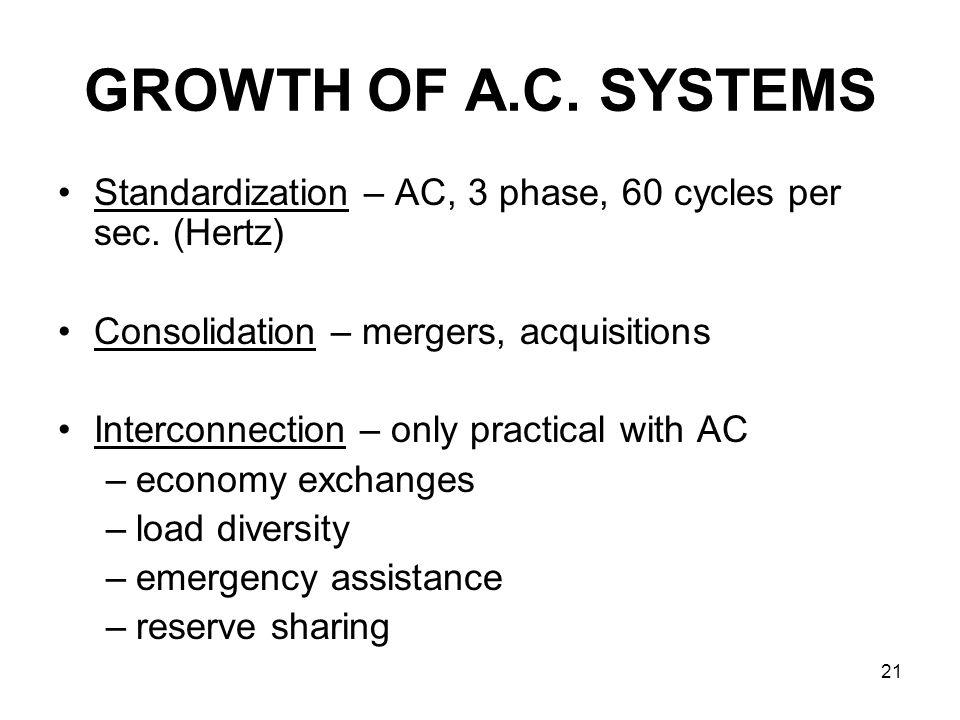 21 GROWTH OF A.C. SYSTEMS Standardization – AC, 3 phase, 60 cycles per sec.