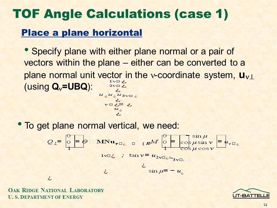 O AK R IDGE N ATIONAL L ABORATORY U. S. D EPARTMENT OF E NERGY 14 TOF Angle Calculations (case 1) Place a plane horizontal Specify plane with either p