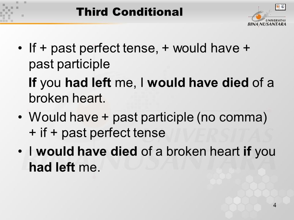 5 Third Conditional We use the third conditional to talk about past events which cannot be changed, so we know that the condition is impossible and its consequence is imaginary: If you'd (had) left me, I'd (would) have died of a broken heart.