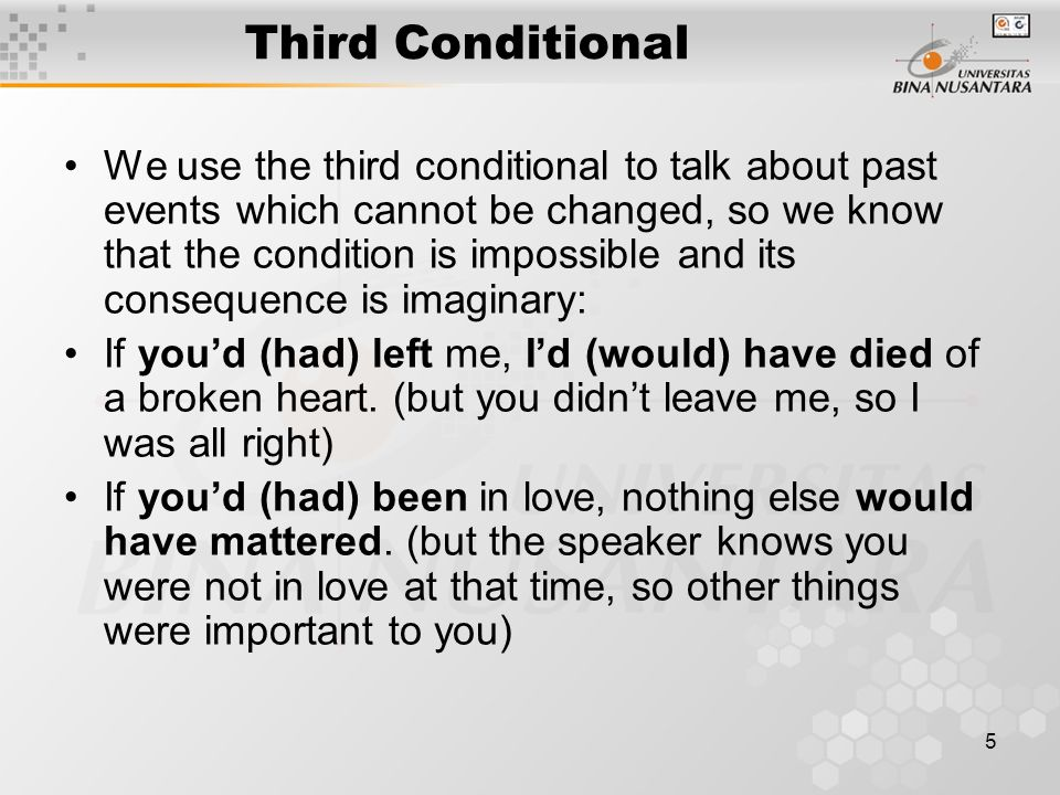 6 Third Conditional Other modal verbs like might and could are sometimes used instead of would in second and third conditional sentences: I might love you if you bought me a diamond ring.