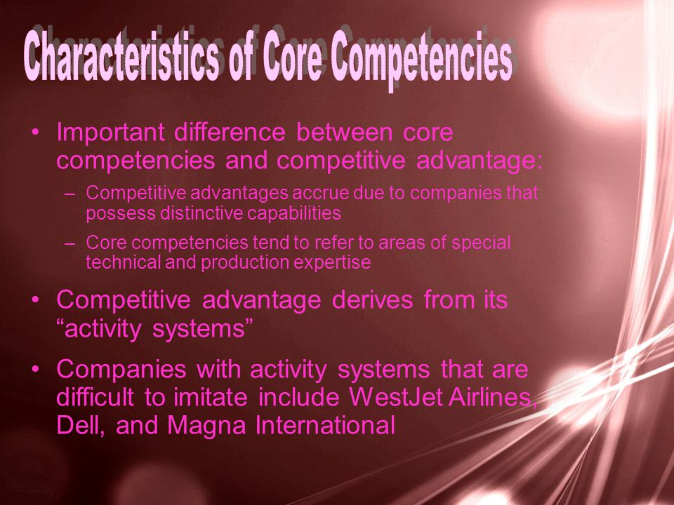 Important difference between core competencies and competitive advantage: –Competitive advantages accrue due to companies that possess distinctive capabilities –Core competencies tend to refer to areas of special technical and production expertise Competitive advantage derives from its activity systems Companies with activity systems that are difficult to imitate include WestJet Airlines, Dell, and Magna International
