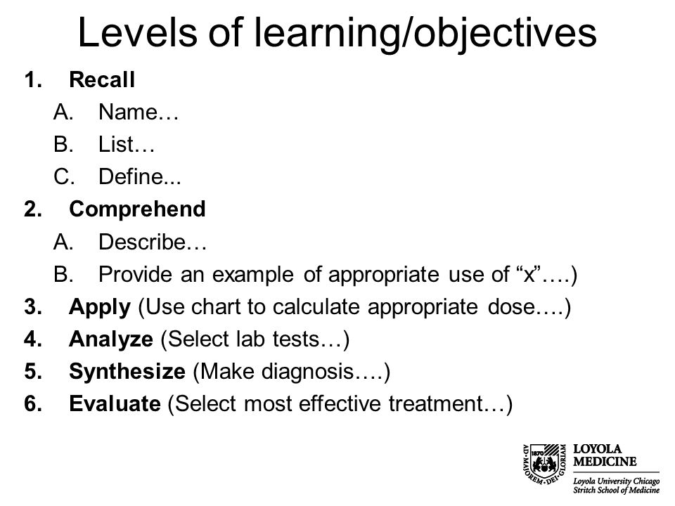 Levels of learning/objectives 1.Recall A.Name… B.List… C.Define...