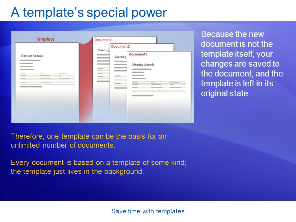 Save time with templates A template's special power Because the new document is not the template itself, your changes are saved to the document, and the template is left in its original state.