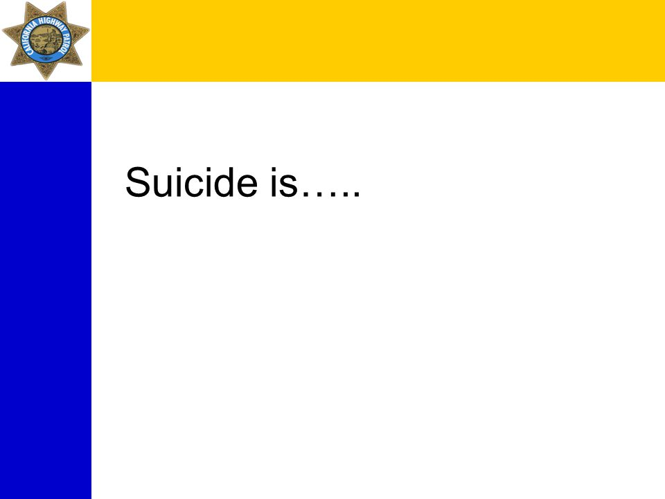 Suicide is…..