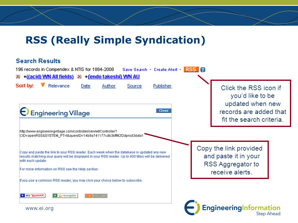 www.ei.org RSS (Really Simple Syndication) Copy the link provided and paste it in your RSS Aggregator to receive alerts.
