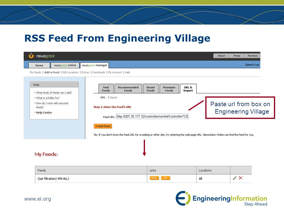 www.ei.org RSS Feed From Engineering Village Paste url from box on Engineering Village