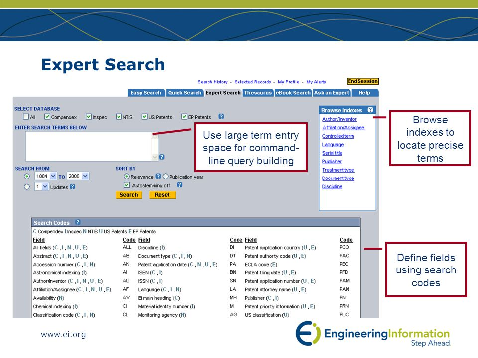 www.ei.org Expert Search Browse indexes to locate precise terms Define fields using search codes Use large term entry space for command- line query building