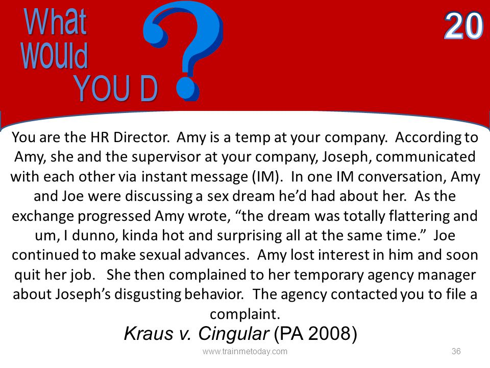 What What would would YOU D YOU D You are the HR Director.