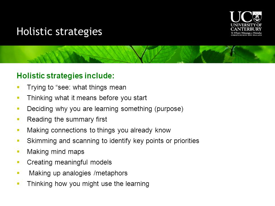Holistic strategies Holistic strategies include:  Trying to see: what things mean  Thinking what it means before you start  Deciding why you are learning something (purpose)  Reading the summary first  Making connections to things you already know  Skimming and scanning to identify key points or priorities  Making mind maps  Creating meaningful models  Making up analogies /metaphors  Thinking how you might use the learning
