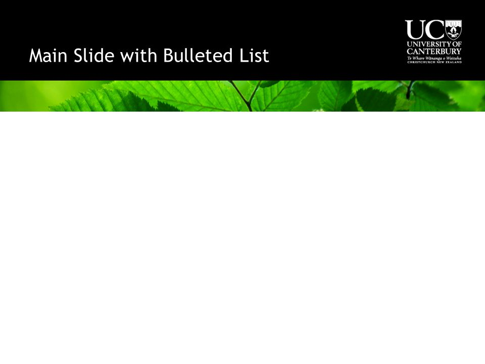 Main Slide with Bulleted List