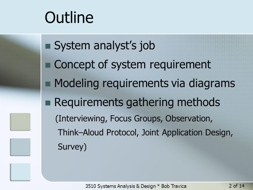 3510 Systems Analysis & Design * Bob Travica 3 of 14 Requirements activity in SDLC Requirements collected in each iteration; most of it is in Elaboration phase.