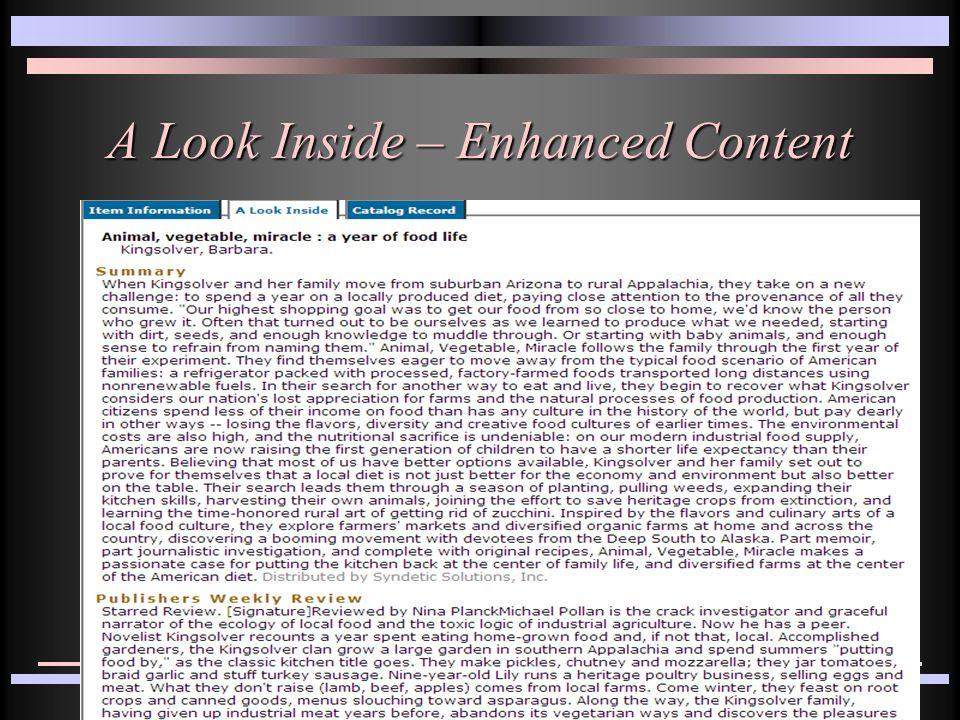 A Look Inside – Enhanced Content