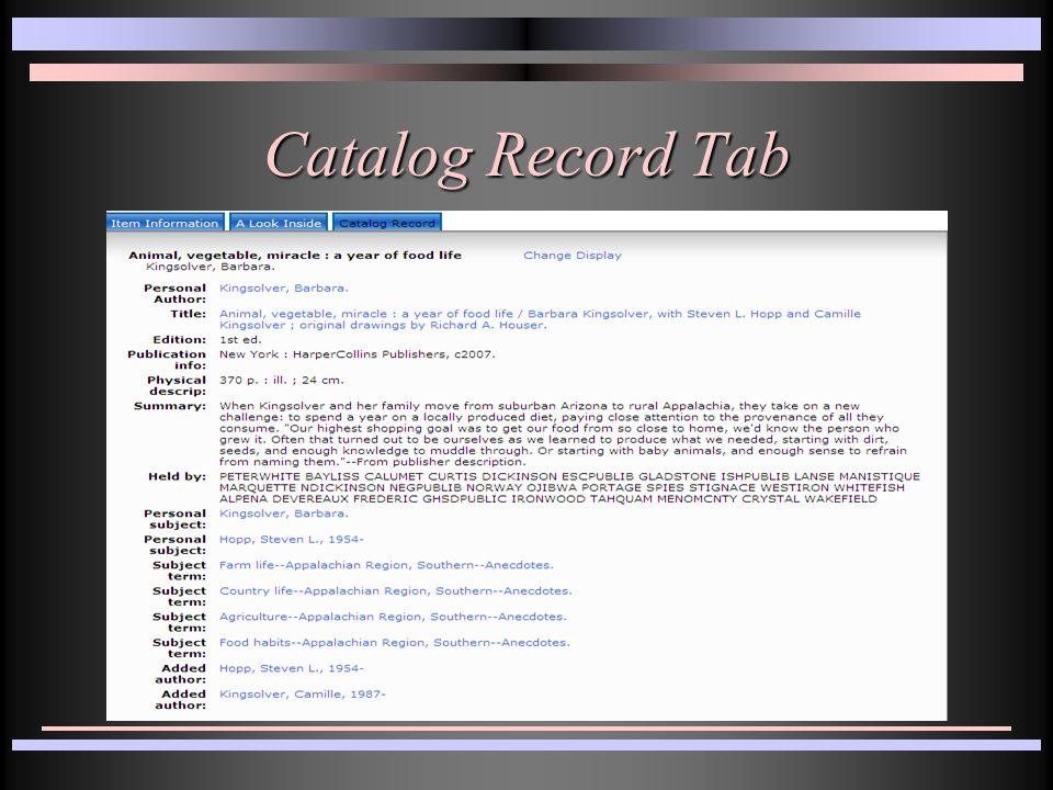 Catalog Record Tab