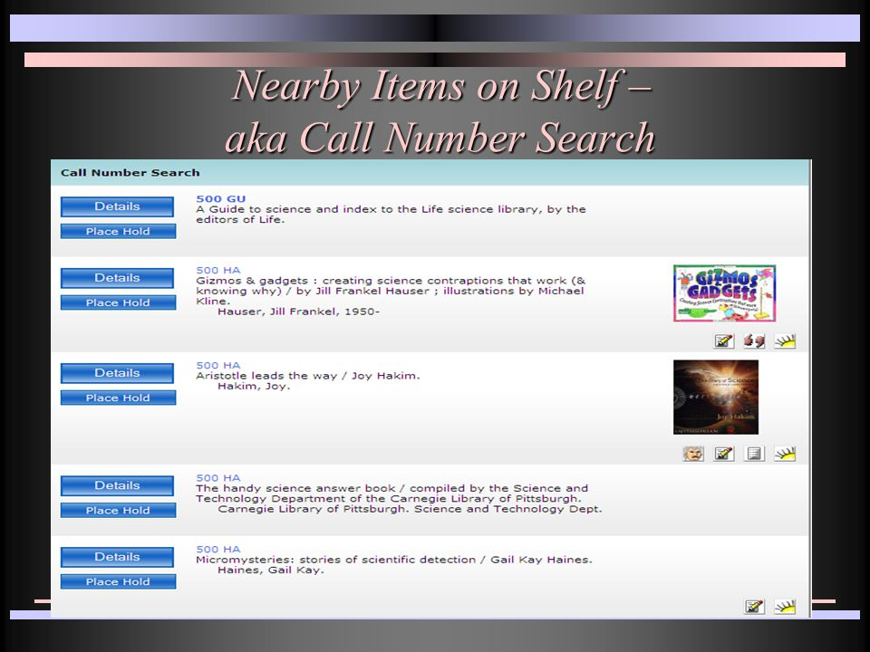 Nearby Items on Shelf – aka Call Number Search Nearby Items on Shelf – aka Call Number Search