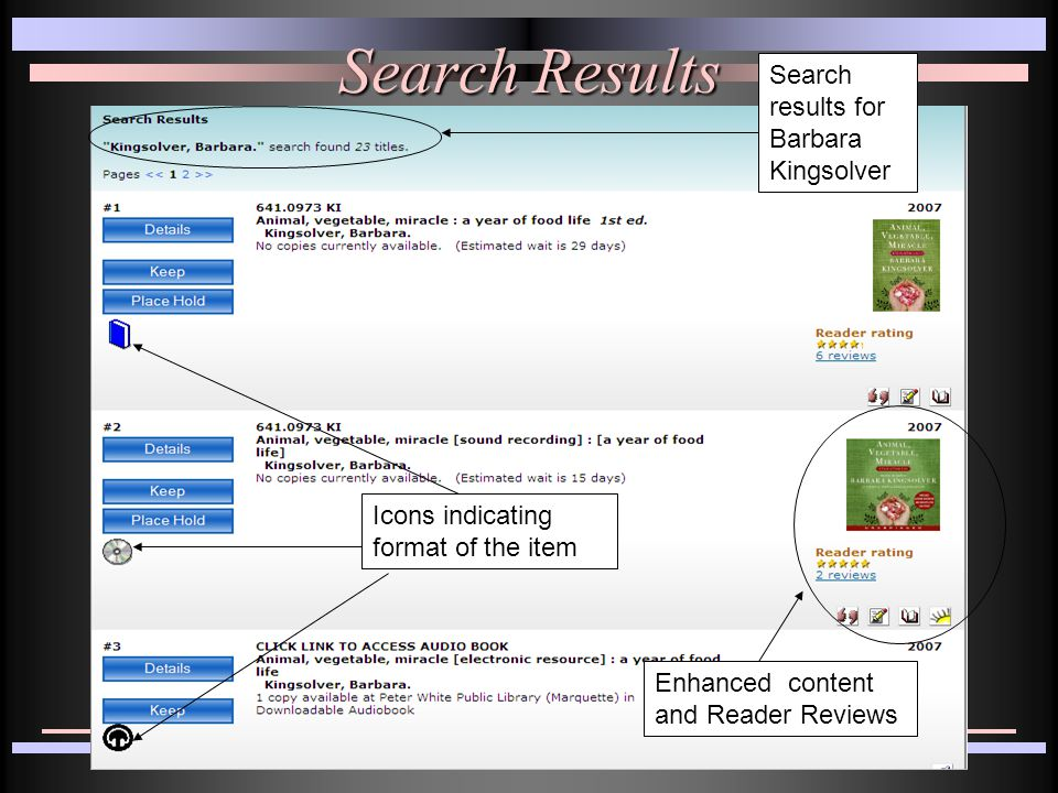 Search Results Search results for Barbara Kingsolver Enhanced content and Reader Reviews Icons indicating format of the item