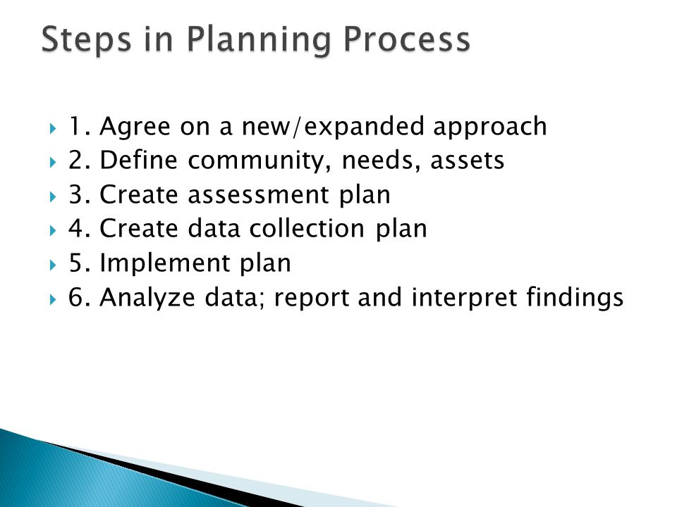  1. Agree on a new/expanded approach  2. Define community, needs, assets  3.
