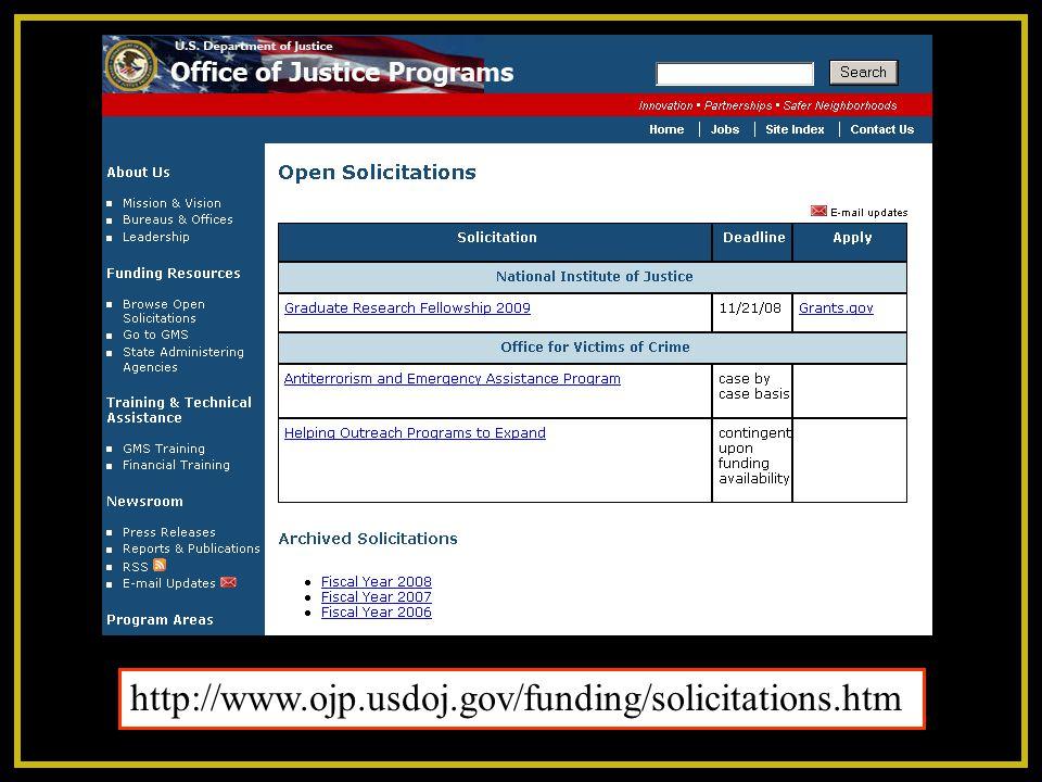 http://www.ojp.usdoj.gov/funding/solicitations.htm