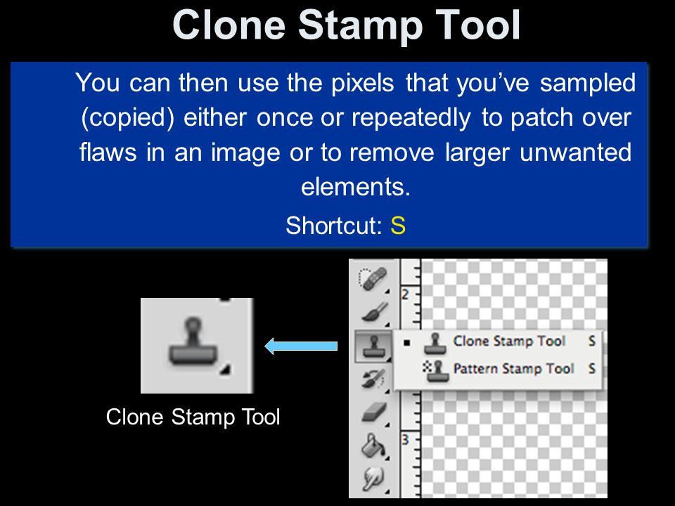 Clone Stamp Tool You can then use the pixels that you've sampled (copied) either once or repeatedly to patch over flaws in an image or to remove large