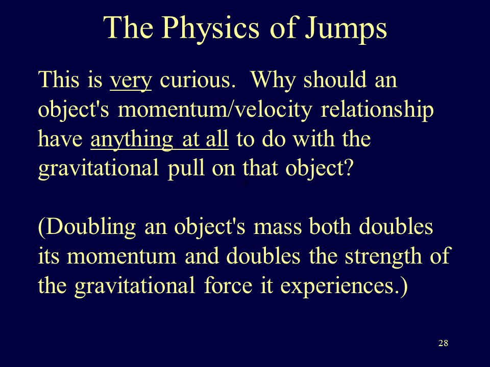 28 The Physics of Jumps This is very curious.