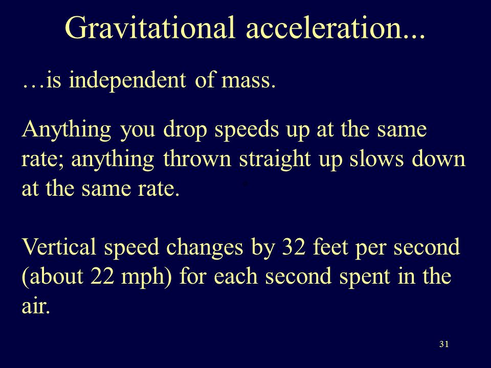 31 Gravitational acceleration... …is independent of mass.