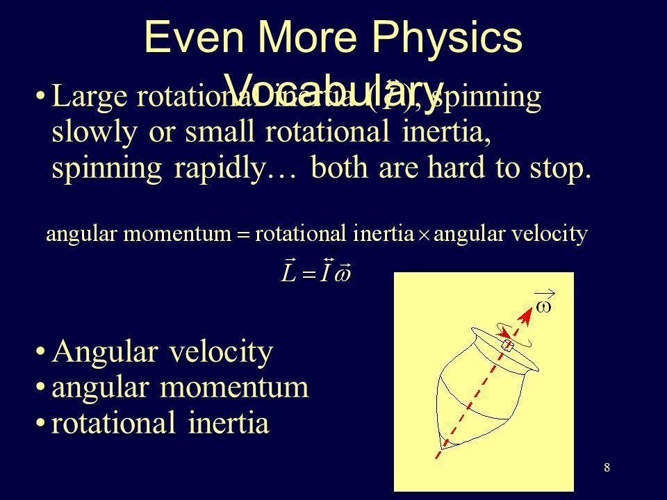 8 Even More Physics Vocabulary Angular velocity angular momentum rotational inertia Large rotational inertia ( ), spinning slowly or small rotational inertia, spinning rapidly… both are hard to stop.