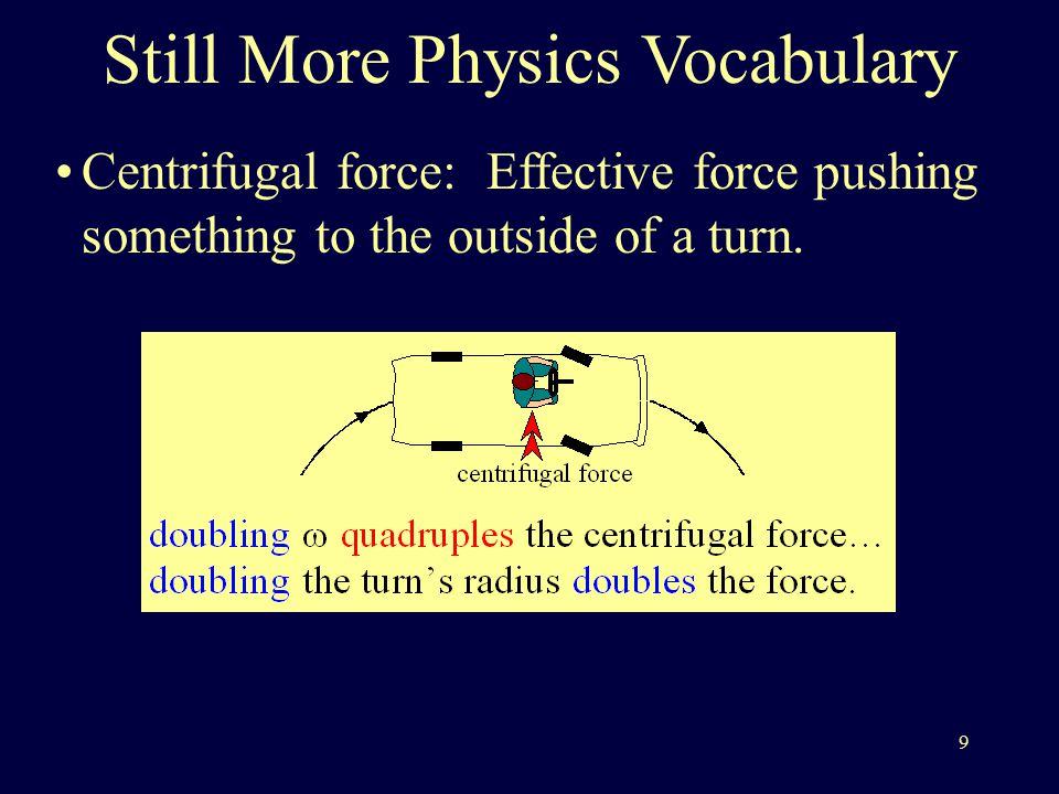 9 Centrifugal force: Effective force pushing something to the outside of a turn.