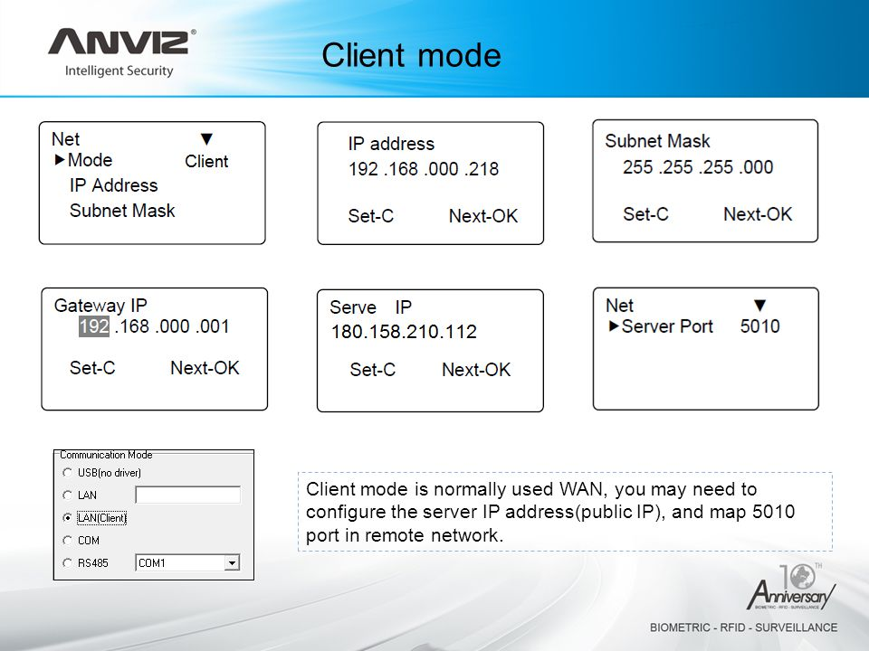 Client mode Client mode is normally used WAN, you may need to configure the server IP address(public IP), and map 5010 port in remote network.