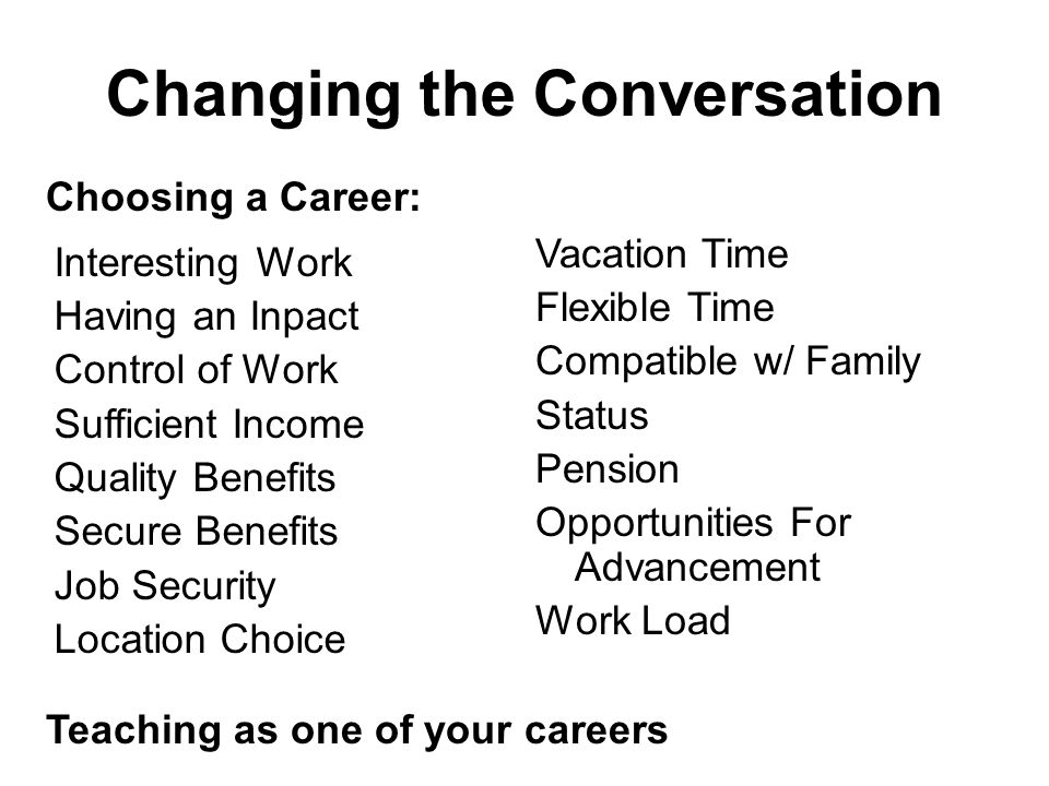 Changing the Conversation Interesting Work Having an Inpact Control of Work Sufficient Income Quality Benefits Secure Benefits Job Security Location Choice Vacation Time Flexible Time Compatible w/ Family Status Pension Opportunities For Advancement Work Load Choosing a Career: Teaching as one of your careers