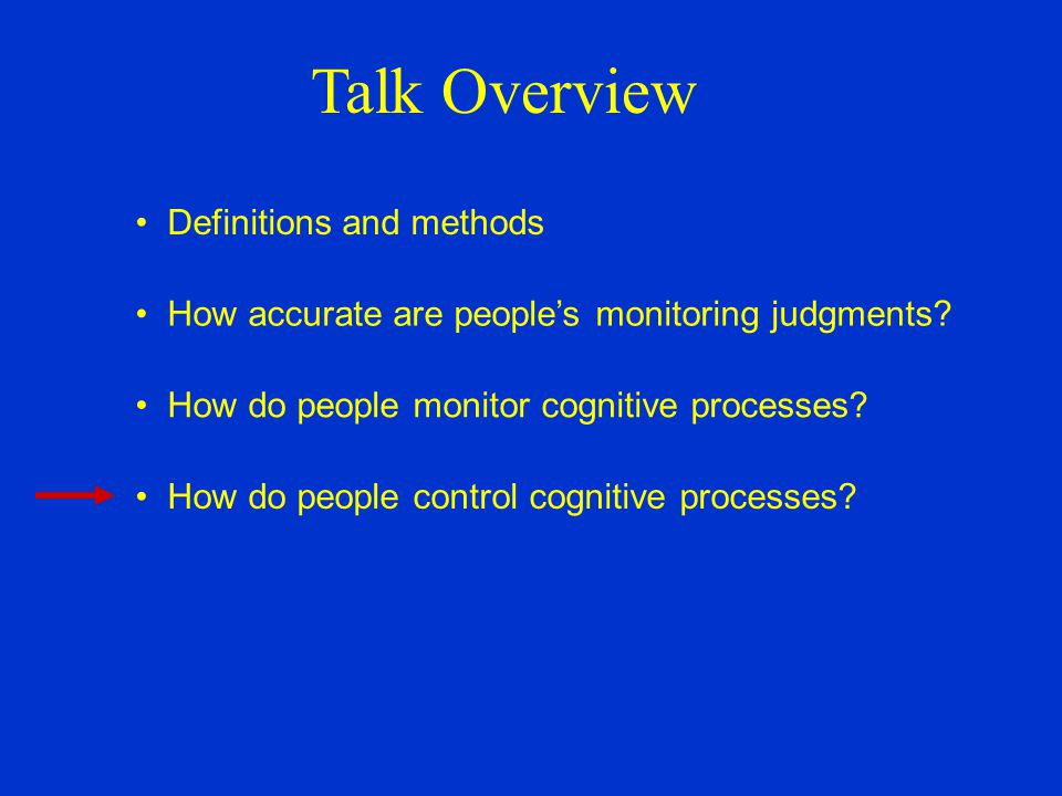 Talk Overview Definitions and methods How accurate are people's monitoring judgments.