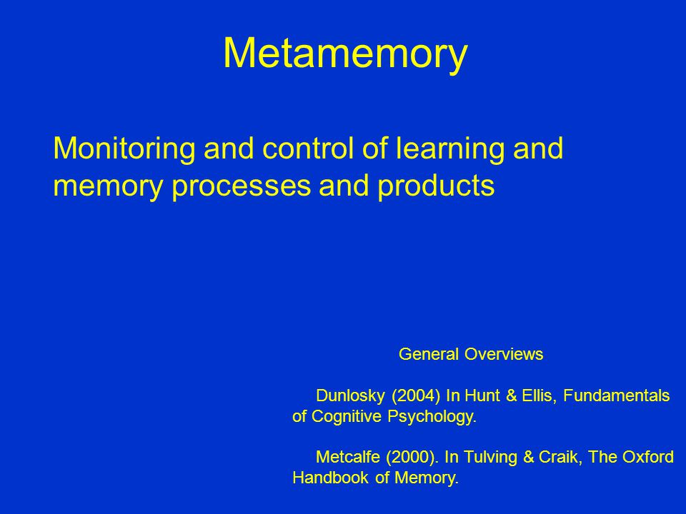 Predictive accuracy of immediate and delayed judgments of learning Metamemory Performance (gamma for JOL accuracy) Delayed Immediate Nelson & Dunlosky (1991)+.90 >+.38 Dunlosky & Nelson (1992)+.93>+.45 Thiede & Dunlosky (1994) recall+.86 >+.63 Dunlosky & Nelson (1994) interactive imagery+.72 >+.10 rote rehearsal+.93 >+.29 distributed repetitions+.71>+.14 massed repetitions+.83>+.12 single presentation+.91>+.20 Connor et al.