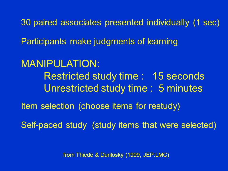30 paired associates presented individually (1 sec) Participants make judgments of learning MANIPULATION: Restricted study time : 15 seconds Unrestricted study time : 5 minutes Item selection (choose items for restudy) Self-paced study (study items that were selected) from Thiede & Dunlosky (1999, JEP:LMC)