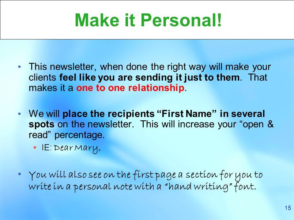 15 Make it Personal.