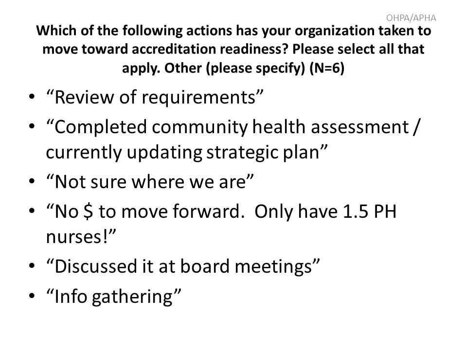"""Review of requirements"" ""Completed community health assessment / currently updating strategic plan"" ""Not sure where we are"" ""No $ to move forward. On"