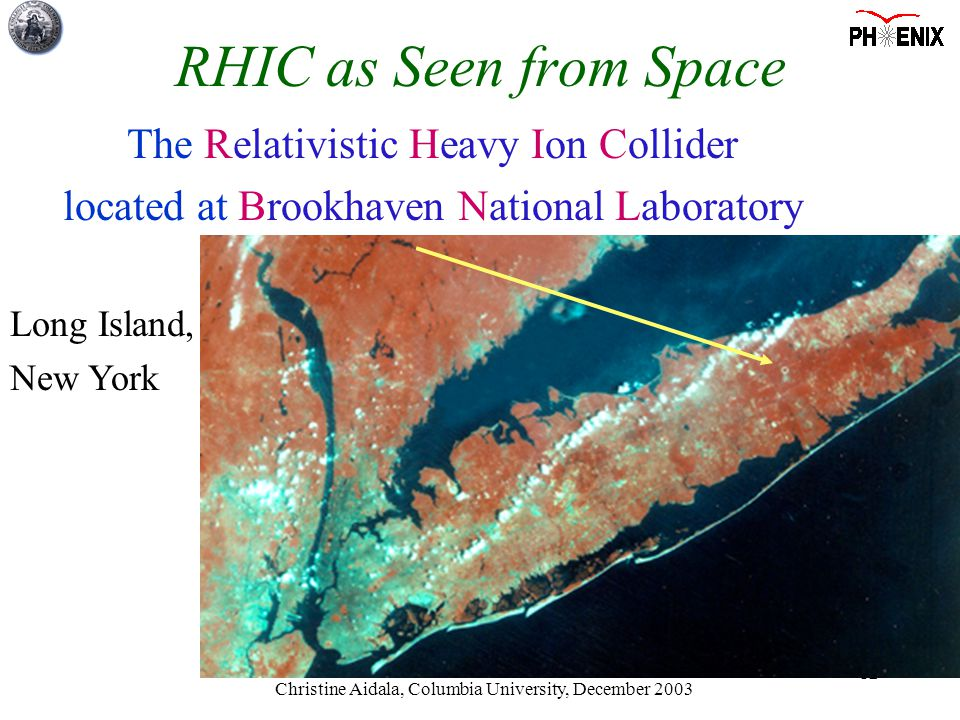 Christine Aidala, Columbia University, December 2003 12 The Relativistic Heavy Ion Collider located at Brookhaven National Laboratory Long Island, New York RHIC as Seen from Space