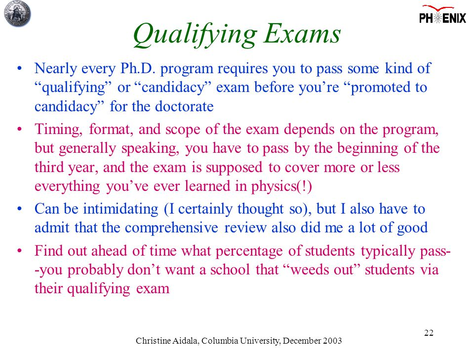 Christine Aidala, Columbia University, December 2003 22 Qualifying Exams Nearly every Ph.D.