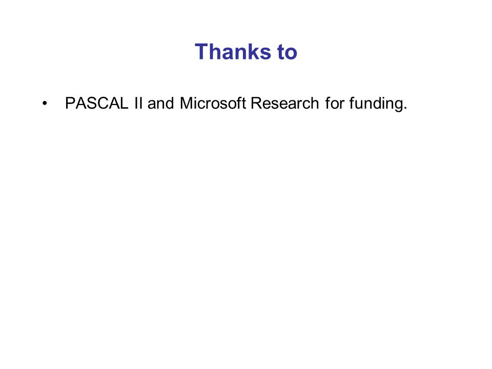 Thanks to PASCAL II and Microsoft Research for funding.