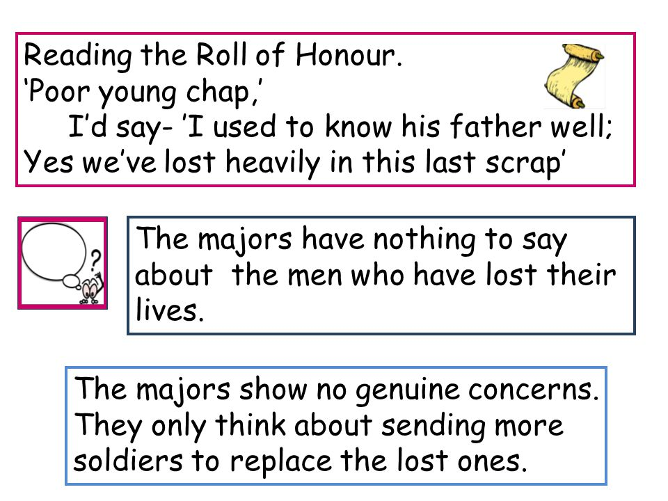 The majors have nothing to say about the men who have lost their lives. Reading the Roll of Honour. 'Poor young chap,' I'd say- 'I used to know his fa